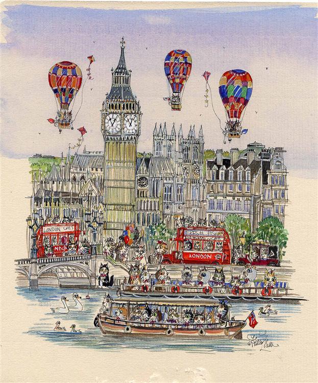 """Cat Balloons over Big Ben 10""""x 8.5"""""""