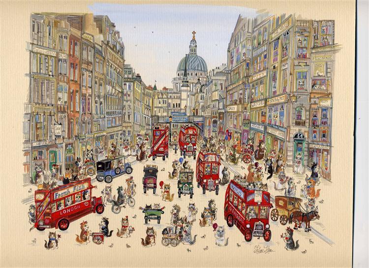 """Fleet Street Cats 12"""" x 16"""""""