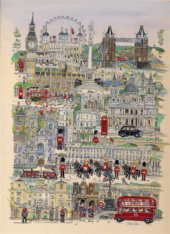 """A London Tour portrait 12""""x16"""""""