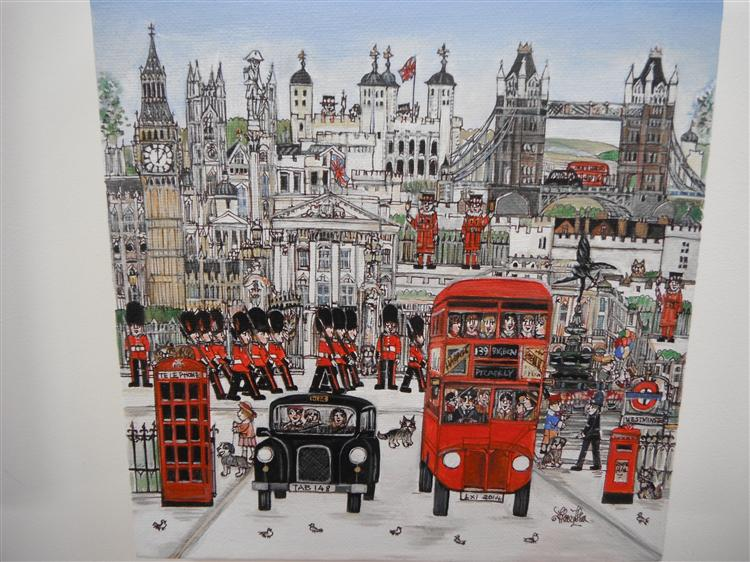 "The London Bus Tour 8x8""  Pen drawing and acrylic on canvas."