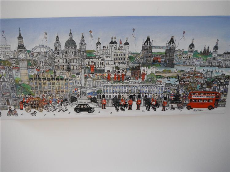 "A London Panorama 10x20""  Pen drawing and Acrylic on canvas."