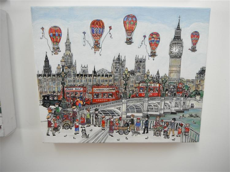 Westminster Bridge Balloons. Pen drawing and acrylic on canvas