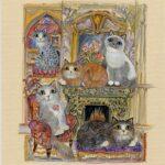 """Cosy Cats 10x8.5"""" Pen & Watercolour"""