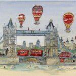 "Tower Bridge 12""x14"" Pen & Watercolour"