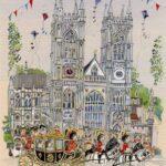 "Westminster Abbey Cats 12""x 16"" Pen & Watercolour"