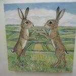 "Boxing Hares landscape 8x8"" £140"
